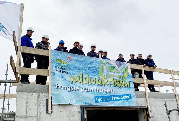 Hoogste punt wildwaterbaan Bosbad Putten