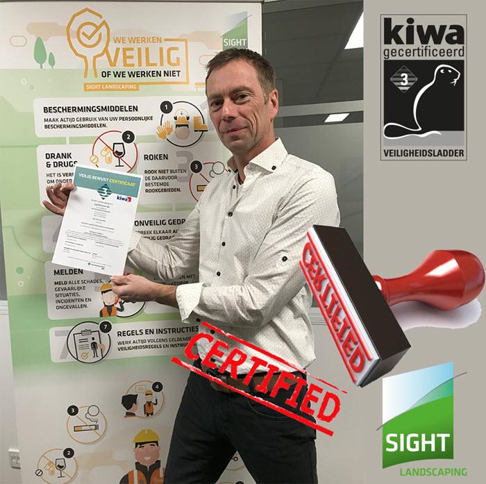 Sight Landscaping behaalt Kiwa veilig bewust certificaat veiligheidsladden