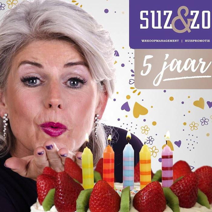 Suzanne van Harten eerste lustrum Suz en Zo