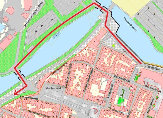 Routekaart parkeren Boulevard Harderwijk