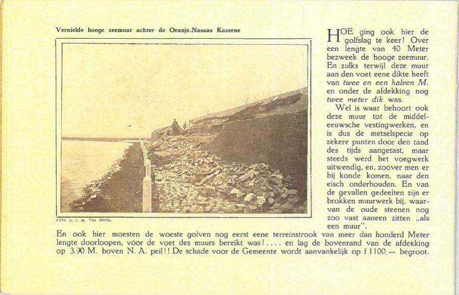 Watersnoodboekje vernielde zeemuur achter de Oranje-Nassau kazerne (de Munt)