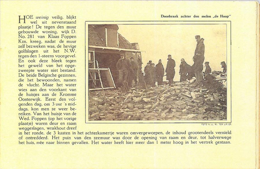 Watersnood boekje 1916 met doorbraak bij de molen de Hoop (oude)