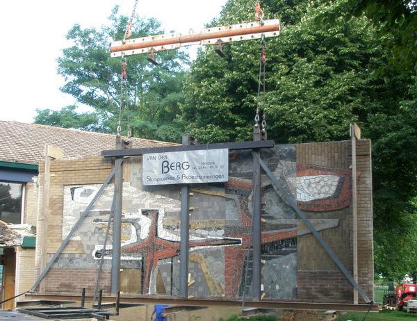Kunstwerk oude muur Groen van Prinsterer Mavo Harderwijk
