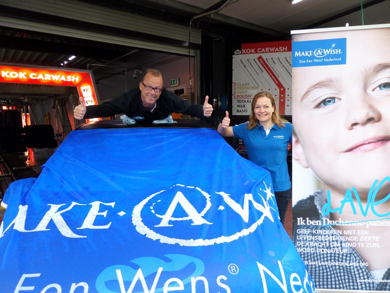 Wasstraat actie Lions Harderwijk voor Make-A-Wish Nederland