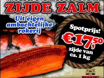 Heerlijke ambachtelijke warm gerookte Zalm, nu wel heel erg voordelig bij Dries van den Berg !