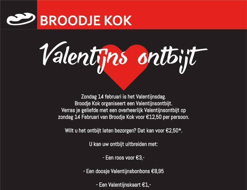 Verras je geliefde met een heerlijk valentijns ontbijt van Broodje Kok