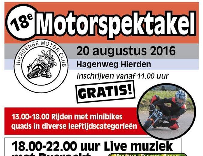 Wegafsluitingen tijdens Motorspektakel Hierden evenement zaterdag 20 augustus 2016