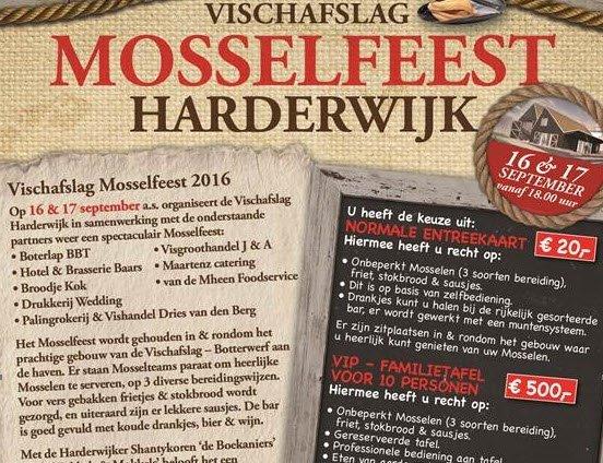 Reserveer nu uw kaarten voor het Harderwijker Mosselfeest 2016