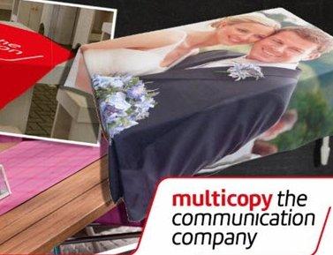 Nieuw bij Multicopy Harderwijk: uw eigen bedrukte tafelkleed.