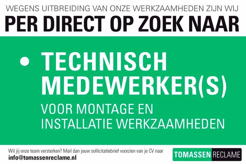 Tomassen Reclame is op zoek naar technische medewerkers