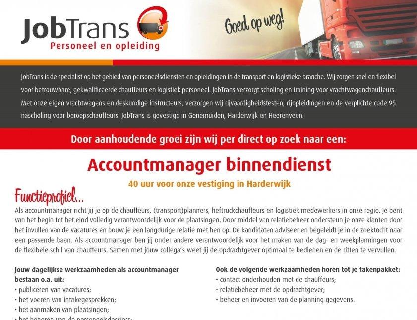 JobTrans Harderwijk: Vacature accountmanager binnendienst
