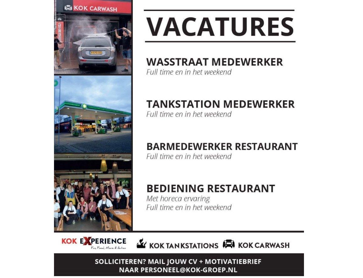Diverse vacatures bij Kok- Tankstation, Carwash en Experience