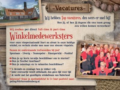 Palingrokerij en vishandel Dries van den Berg is per direct op zoek naar winkelmedewerksters