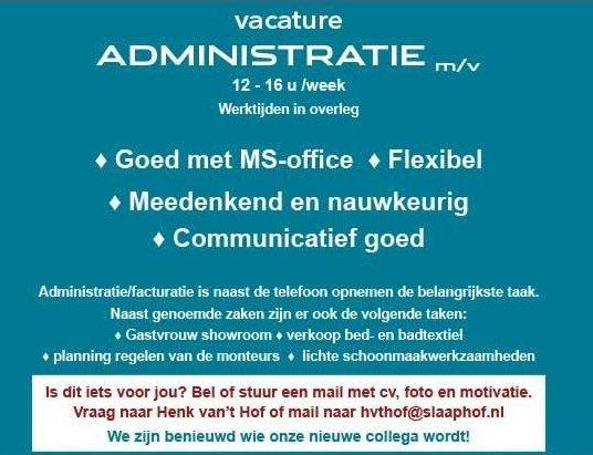 Vacature administratie 12-16 uur per week (m/v)
