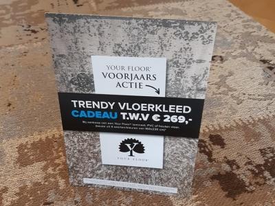 Trendy vloerkleed cadeau bij aanschaf van een houten, pvc of laminaatvloer