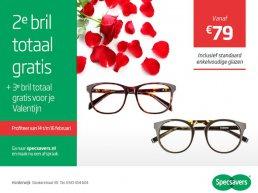 Tweede bril totaal gratis en derde bril gratis voor jouw Valentijn!