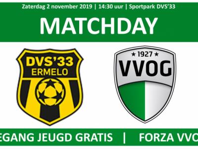 Veluwse derby DVS'33 tegen VVOG zaterdag 2 november 2019