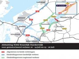 Weekendafsluiting N302 aansluiting Knardijk (Flevoland) en A28 aansluiting (13) Harderwijk   23-26 juli